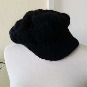 Aqua Black Knitted Beanie With Petit Visor